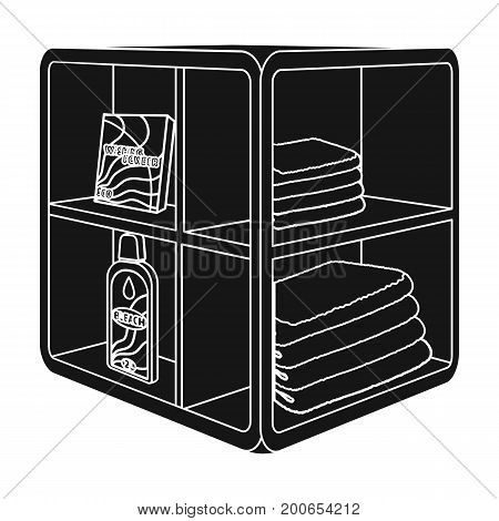 A rack in the bathroom for laundry and detergents. Furniture single icon in black style Isometric vector symbol stock illustration .