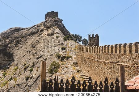Stone path to the watch tower. Genoese ancient fortress near the city of Sudak.