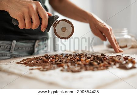 Professional Confectioner Making Tasty Cake With Melted Chocolate