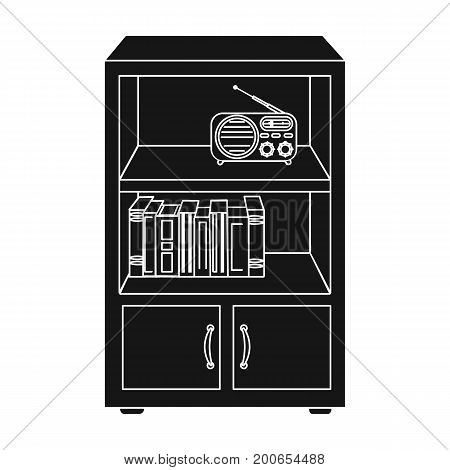 A bookcase with shelves and a radio receiver. Furniture and interior single icon in black style Isometric vector symbol stock illustration .