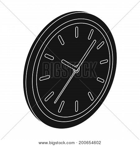 Round wall clock. Office clock single icon in black style Isometric vector symbol stock illustration .