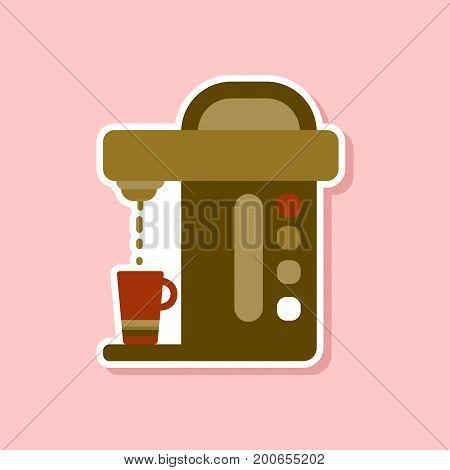 paper sticker on stylish background of coffee electronic machine