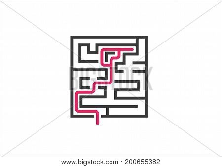 Unable to overcome business challenges and obstacles. Vector illustration of maze / labyrinth as a concept for not solving a problem