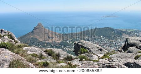 LOOKING DOWN ON TO LIONS HEAD AND SIGNAL HILL FROM THE TOP OF TABLE MOUNTAIN 38nn