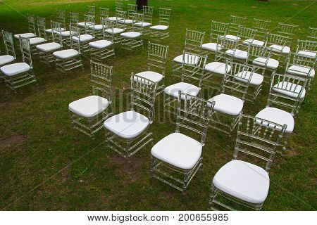 Chairs for the wedding ceremony in the park