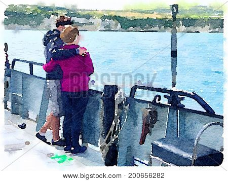 Digital watercolor painting of a young couple on a large yacht with arms around each other looking out into the distance towards the shore.