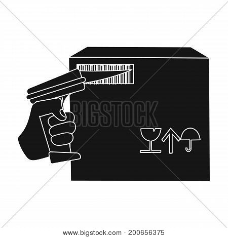 Scan the bar code on the box. Logistics and delivery single icon in black style isometric vector symbol stock illustration .