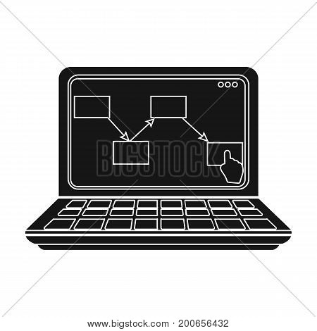 Computer with the scheme of moving the goods. Logistics and delivery single icon in black style isometric vector symbol stock illustration .