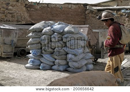 8 June 2017 - Potosi, Bolivia: A miner leaving the quarry at the end of his shift in the mining town of Potosi in Bolivia