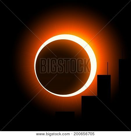 A solar eclipse over the city. The crown of the sun is visible around the moon. Orange on black