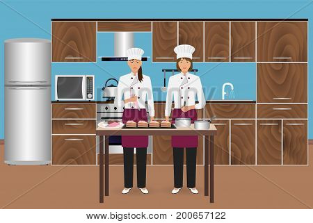 Two young women confectioners cooking desserts with pastry bag. Pastry-cook master class to make cakes on a domestic kitchen. Vector illustration.