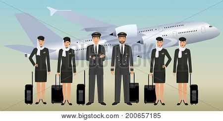 Muslim pilots and stewardesses characters in uniform with bags standing on flying aircraft background. Aviation staff employee concept. Airplane personnel team. Vector illustration.
