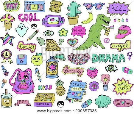 Trendy fashion stickers or patches set with cute design elements and slang phrases in 80s 90s cartoon style.Isolated. Vector