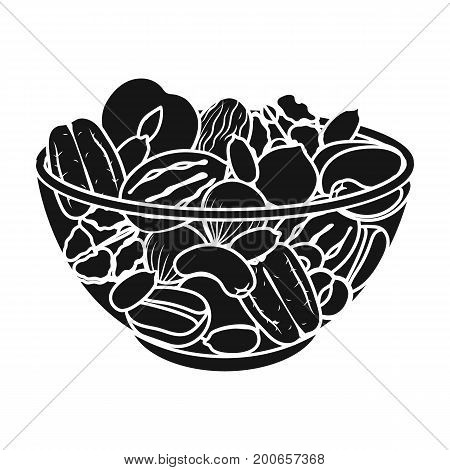 A mixture of different kinds of nuts. Different nuts single icon in black style vector symbol stock illustration .