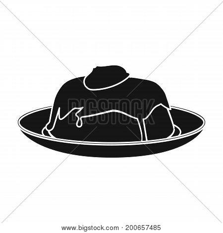 Delicious, creamy-chocolate dessert. Dessert single icon in black style vector symbol stock illustration .