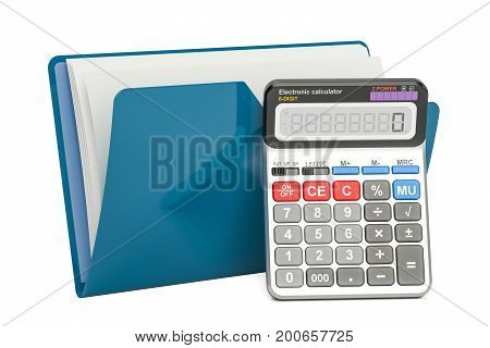 Blue computer folder icon with calculator 3D rendering