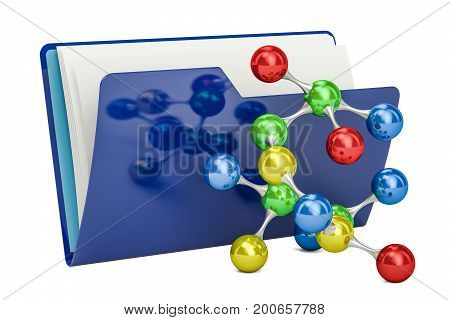 Computer folder icon with molecular model 3D rendering isolated on white background
