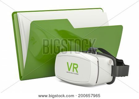 Computer folder with virtual reality glasses 3D rendering