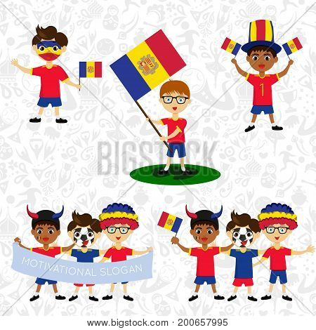 Set of boys with national flags of Andorra. Blanks for the day of the flag independence nation day and other public holidays. The guys in sports form with the attributes of the football team