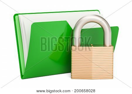 Green computer folder icon with padlock 3D rendering isolated on white background