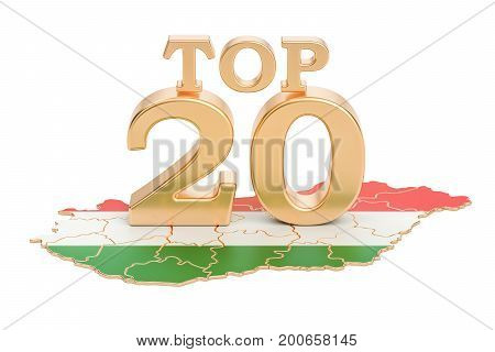 Hungarian Top 20 concept 3D rendering isolated on white background