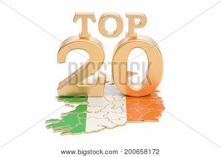 Irish Top 20 concept 3D rendering isolated on white background