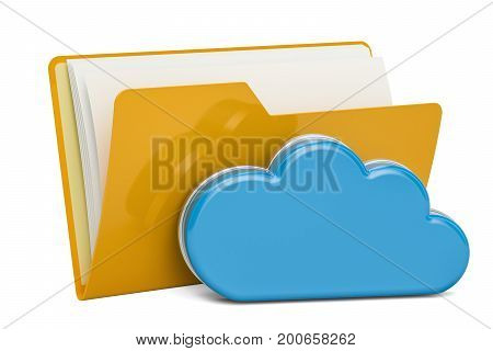Yellow computer folder icon with computing cloud 3D rendering isolated on white background