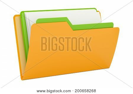 Yellow computer folder icon with folder inside 3D rendering isolated on black background