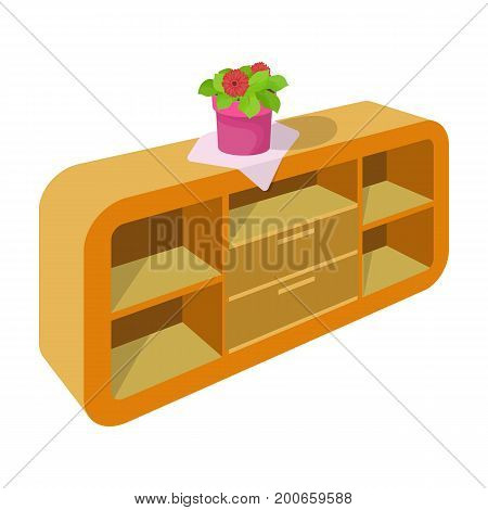 Chest, shelving with shelves and flower. Furniture and interior single icon in cartoon style Isometric vector symbol stock illustration .