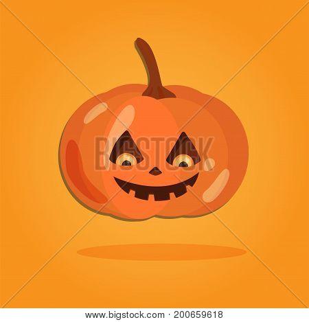 Halloween cartoon art in flat style. Orange background, Cute pumpkin for design. Vector illustration.