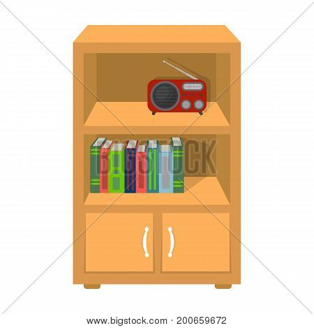 A bookcase with shelves and a radio receiver. Furniture and interior single icon in cartoon style Isometric vector symbol stock illustration .