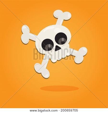 Halloween cartoon art in flat style. Orange background, Cute skull for design. Vector illustration.