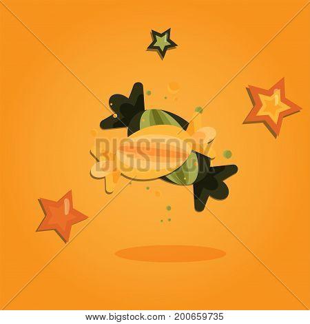 Halloween cartoon art in flat style. Orange background, Cute sweet for design. Vector illustration.