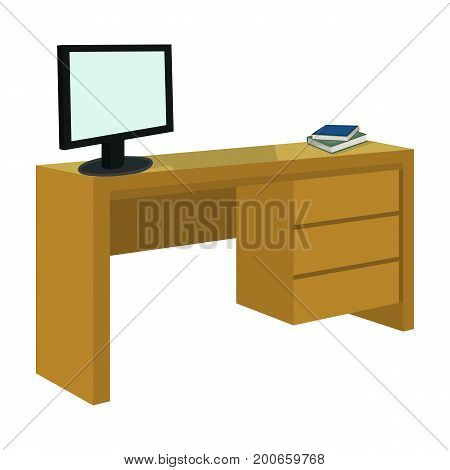 A desk with a computer and books. Furniture and interior single icon in cartoon style Isometric vector symbol stock illustration .