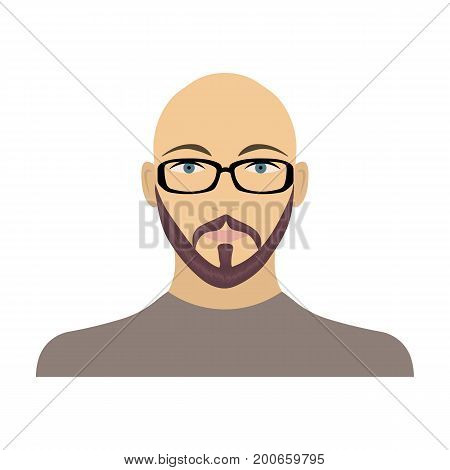 The face of a bald man with glasses, with a beard and mustache. The face of a man single icon in cartoon style vector symbol stock illustration .