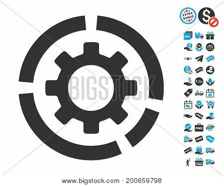 Circle Diagram Configuration Gear grey pictograph with free bonus icon set. Vector illustration style is flat iconic symbols.