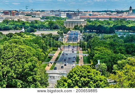 View from Arlington Cemetery towards the Lincoln Memorial in Washington, D.C. United States