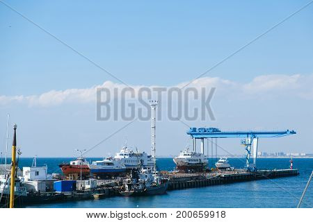 Sea port in Russia with a sea view.