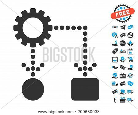 Flow Chart Configuration grey pictograph with free bonus pictograph collection. Vector illustration style is flat iconic symbols.