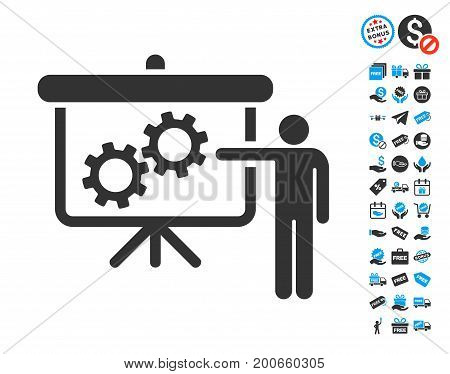 Gears Presentation Lecture grey pictograph with free bonus pictograms. Vector illustration style is flat iconic symbols.