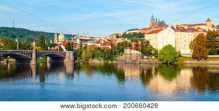 Prague Castle. View from Manes Bridge in Prague, Czech Republic.