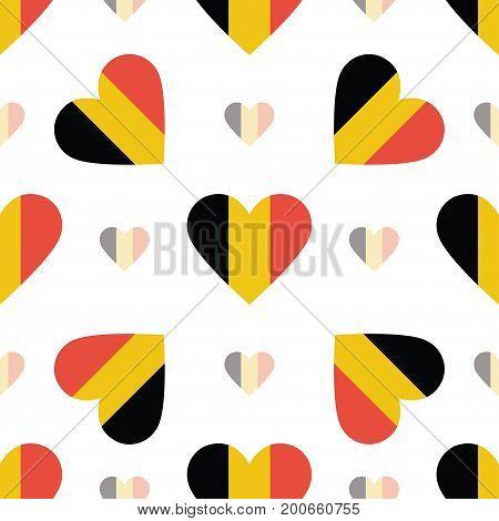 Belgium Flag Patriotic Seamless Pattern. National Flag In The Shape Of Heart. Vector Illustration.