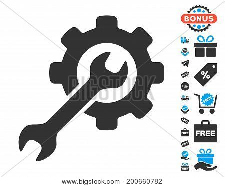 Options grey pictograph with free bonus clip art. Vector illustration style is flat iconic symbols.