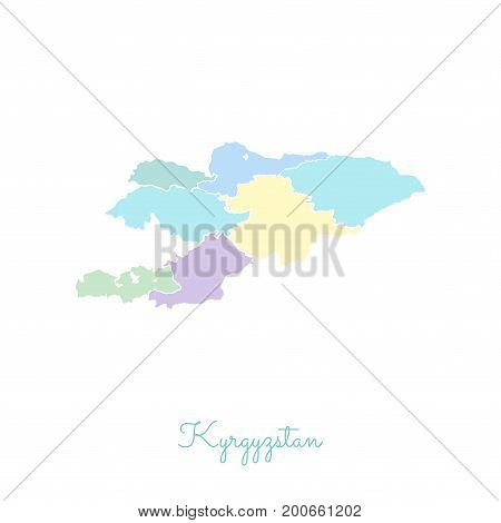 Kyrgyzstan Region Map: Colorful With White Outline. Detailed Map Of Kyrgyzstan Regions. Vector Illus