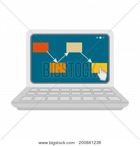 Computer with the scheme of moving the goods. Logistics and delivery single icon in cartoon style isometric vector symbol stock illustration .
