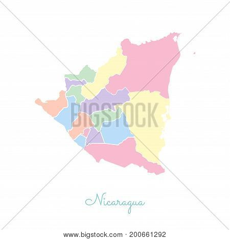 Nicaragua Region Map: Colorful With White Outline. Detailed Map Of Nicaragua Regions. Vector Illustr