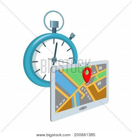 Delivery on time to the destination. Logistics and delivery single icon in cartoon style isometric vector symbol stock illustration .