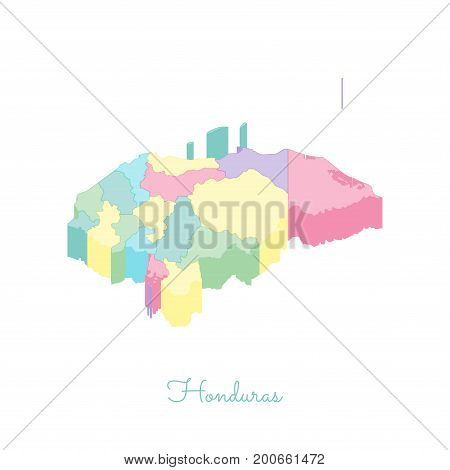 Honduras Region Map: Colorful Isometric Top View. Detailed Map Of Honduras Regions. Vector Illustrat