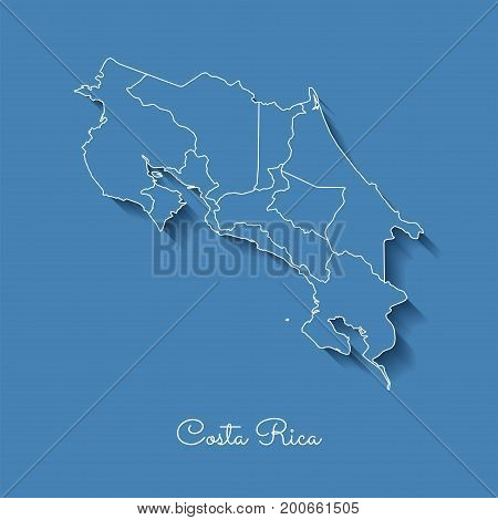 Costa Rica Region Map: Blue With White Outline And Shadow On Blue Background. Detailed Map Of Costa