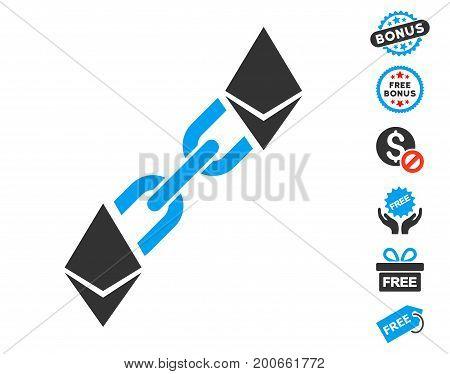 Ethereum Blockchain pictograph with free bonus images. Vector illustration style is flat iconic symbols.